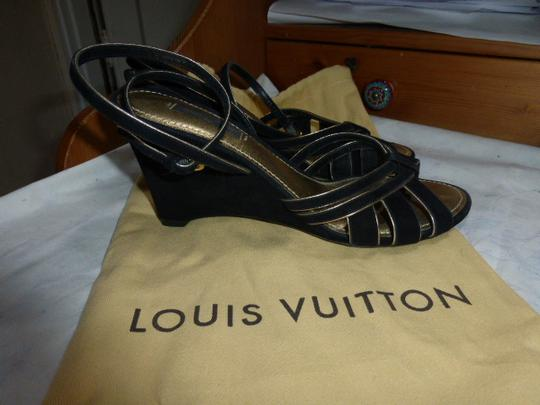 Louis Vuitton black suede Wedges