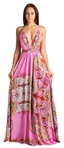 Pink Print Maxi Dress by AG Studio V-neck Maxi Backless
