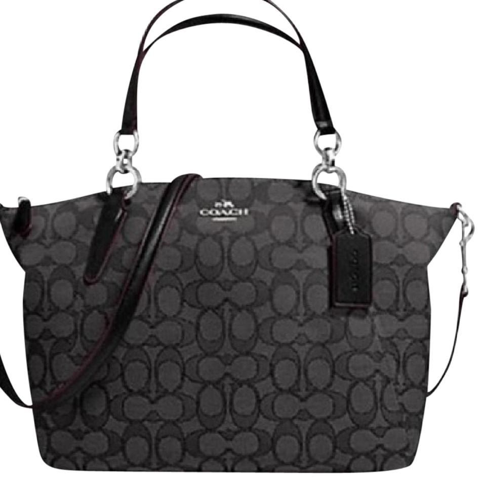 2ac4e34251f1 Coach Kelsey Otl Small Smoke   Black Signature Jacquard Fabric Satchel