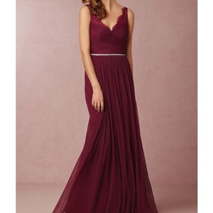 BHLDN Black Cherry Chiffon Fleur Feminine Bridesmaid/Mob Dress Size 12 (L)