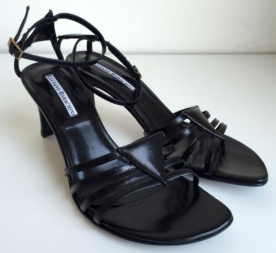 Luciano Barachini Ankle Strap Made In Italy Slingback Open Toe Black Sandals