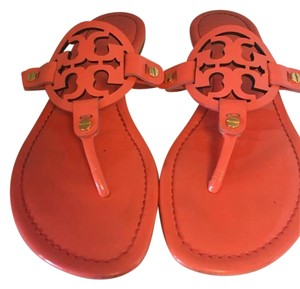 Tory Burch Slides Logo Rubber Sole Leather Lining #a72a Coral Flats