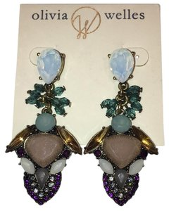 Olivia Welles 14kt Burnished Gold Plated Crystal & Stone Detailed Drop Earrings