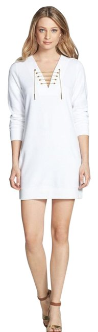 Preload https://img-static.tradesy.com/item/21561301/michael-kors-white-chain-lace-up-french-terry-short-casual-dress-size-14-l-0-1-650-650.jpg
