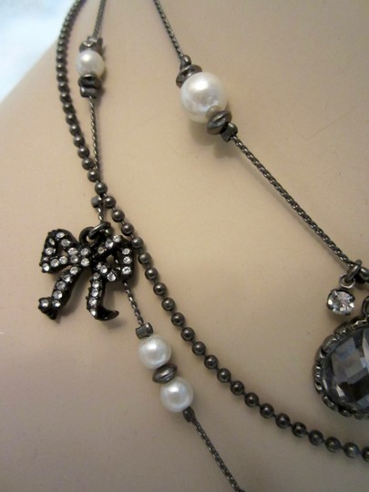 Betsey Johnson Vintage 3-Strand Statement Necklace Black Skull Bows Rhinestones