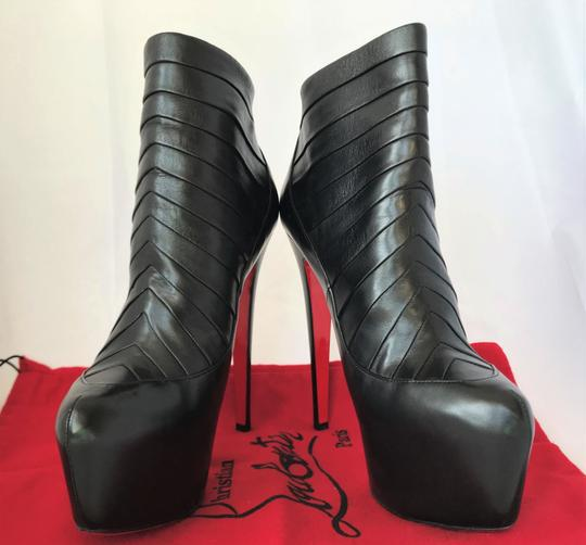 Christian Louboutin Thigh High Platform Heel Ankle Black Boots