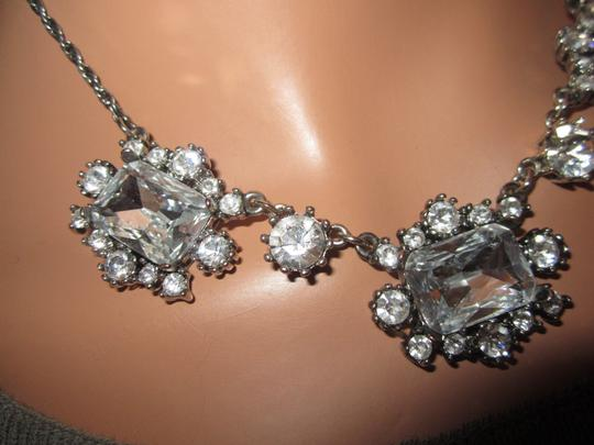 Betsey Johnson Chunky Crystal Necklace Choker Statement Bridal Silver Tone
