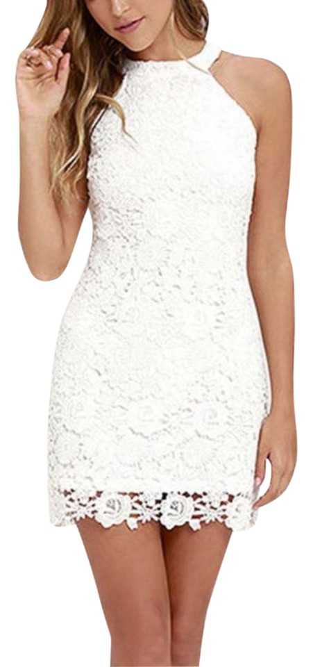 Boho Chic Sexy White Lace Crochet Bodycon Mini Short Casual Dress