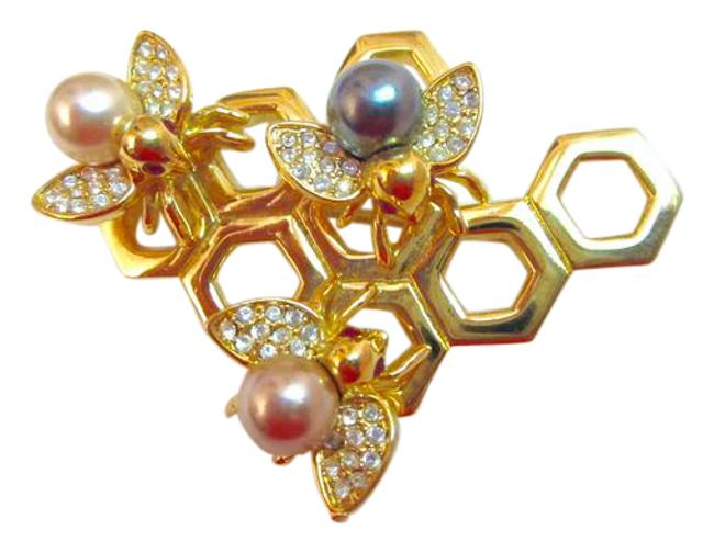 Item - Gold White Pink Pearl Pave Crystal Bee Pin Triple Honeycomb Tone Signed Superb