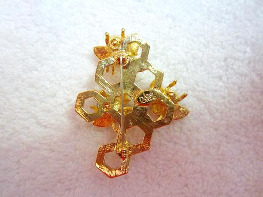 Joan Rivers Pearl Pave Crystal Bee Pin Triple Honeycomb Gold Tone Signed Superb!