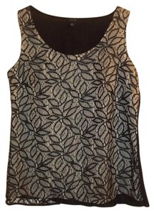 Ann Taylor Lace Classic Pattern Silky Layered Top black tan