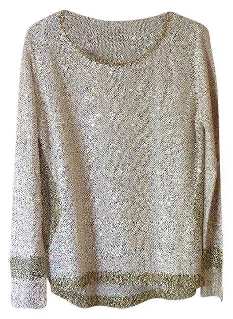 Preload https://img-static.tradesy.com/item/21561744/ivory-and-gold-knit-sequin-blouse-size-8-m-0-2-650-650.jpg