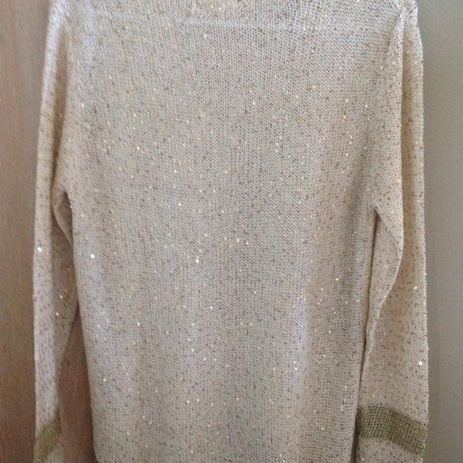 Margarida Knit Sequin Top Ivory and gold