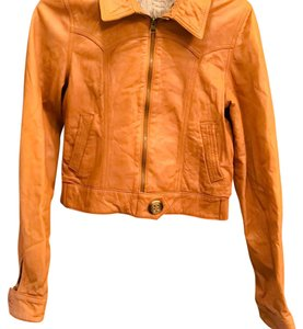 Mike & Chris creamy tan Leather Jacket