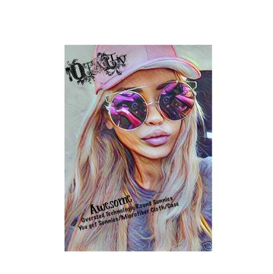 Preload https://img-static.tradesy.com/item/21561806/vibrant-flash-pink-w-gold-frame-xxl-oversized-technologic-round-sunnies-sunglasses-0-0-540-540.jpg