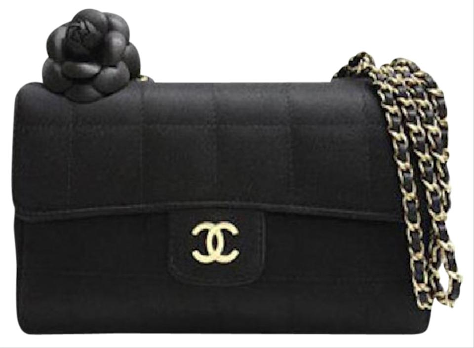 1c66f09a88fa Chanel Classic Flap Camellia Mini Chocolate Bar Square Quilted Cc Logo Black  Satin Shoulder Bag