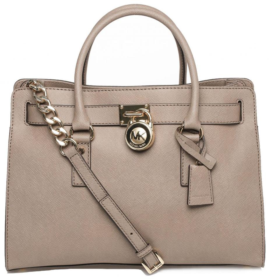 82a3fc48e0 Michael Kors Hamilton Saffiano Large Lock and Key New with Tags Dark Dune  Taupe Brown Goldtone Hardware Leather Satchel 39% off retail