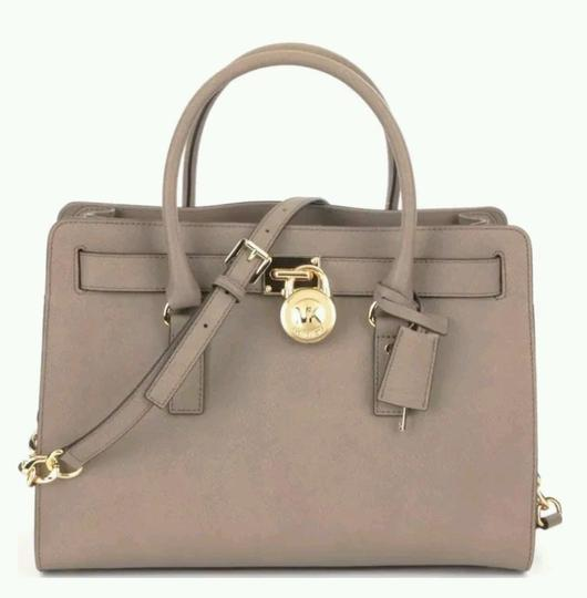 Michael Kors Saffiano Leather Mk Purse Mk Hamilton Mk Large Hamilton Mk Satchel in DARK DUNE TAUPE BROWN/GoldTone Hardware