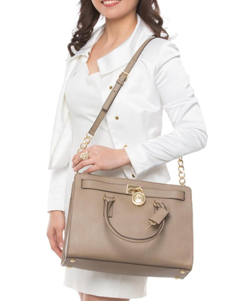 87dd414b225422 Michael Kors Hamilton Saffiano Large Lock and Key New with Tags Dark Dune  Taupe Brown/Goldtone Hardware Leather Satchel - Tradesy