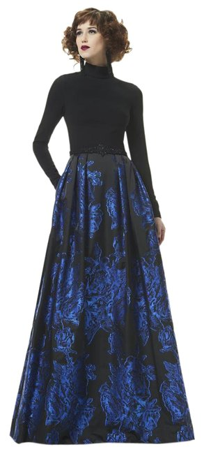 Preload https://item2.tradesy.com/images/theia-black-indigo-883053-high-neck-full-sleeved-ball-gown-long-formal-dress-size-8-m-21562006-0-1.jpg?width=400&height=650