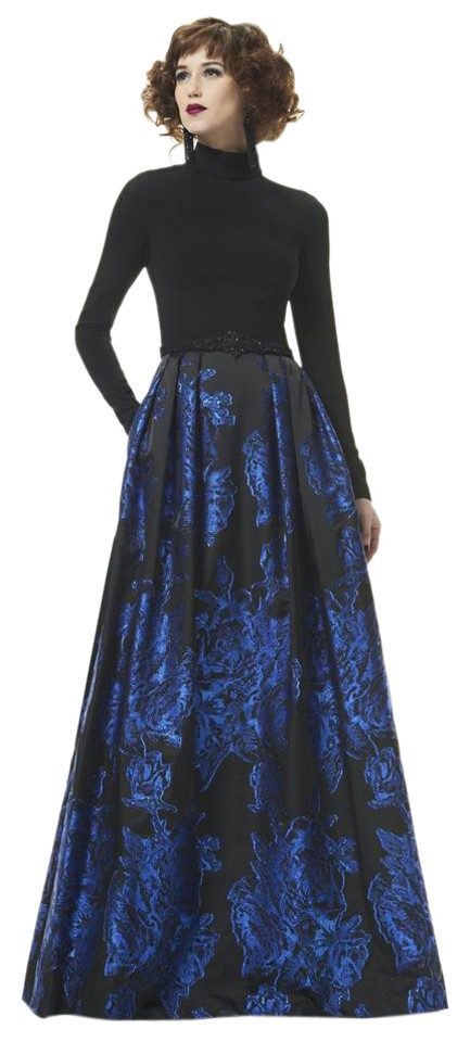 Theia Black Indigo 883053 High Neck Full Sleeved Ball Gown Long