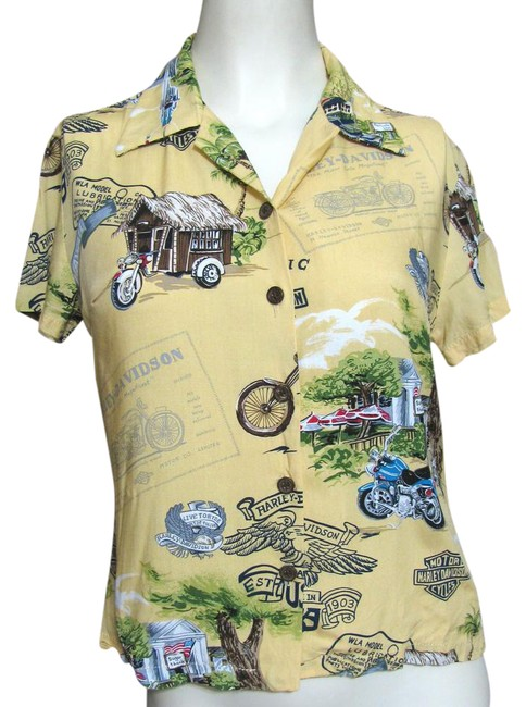 Preload https://item1.tradesy.com/images/harley-davidson-yellow-hawaiian-shirt-button-down-top-size-6-s-21562050-0-1.jpg?width=400&height=650