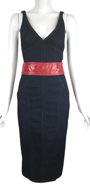 Preload https://img-static.tradesy.com/item/21562089/dolce-and-gabbana-blue-denim-red-belted-sheath-mid-length-short-casual-dress-size-2-xs-0-1-650-650.jpg