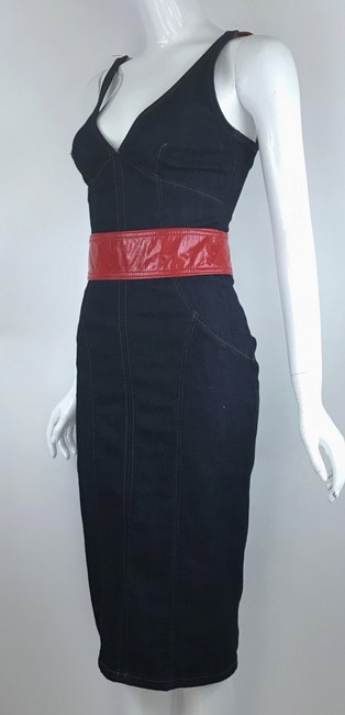 Dolce&Gabbana short dress Blue Denim Sleeveless V-neck Sheath Belted on Tradesy