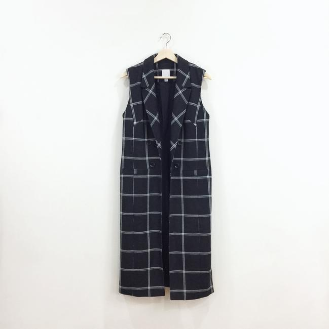 Hype Windowpane Long Open Vest
