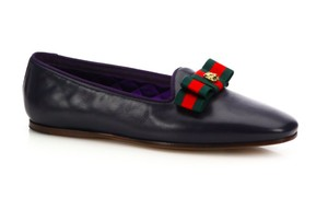 Gucci Leather Bow Drivers Moccasins NAVY Flats