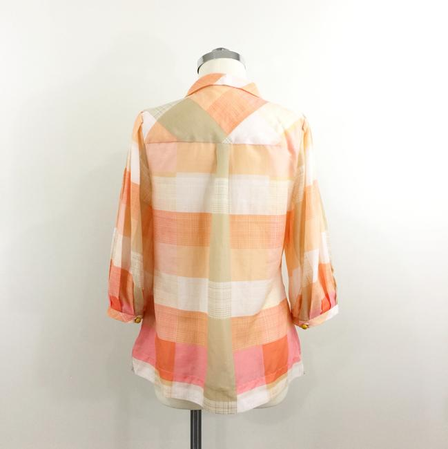 Maeve Button Down Plaid Check Top Coral