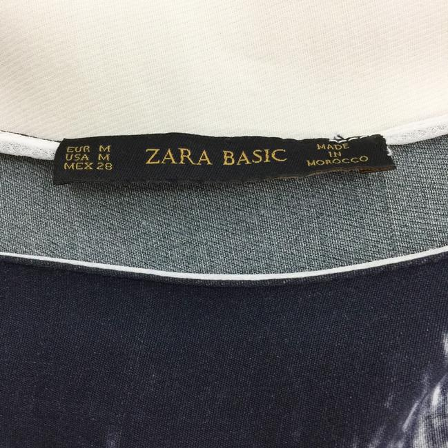 Zara Ombre Branch Rolled Sleeve Printed Shaddow Top White and grey