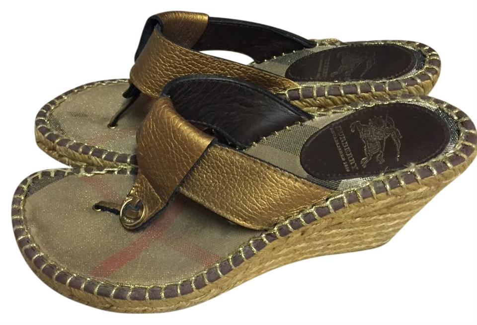 b541dc63711e Burberry Brown Espadrille Leather Sandals Wedges Size US 6 Regular ...