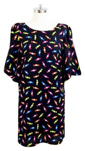 Kate Spade short dress Black candy print Silk Slit on Tradesy