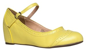 J. Adams Round Toe Flat Synthetic Pump Yellow PU Wedges
