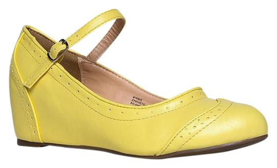 J. Adams Round Toe Flat Pumps Sandals Yellow PU Wedges