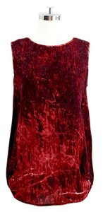 Halston Silk Abstract Print Tank Top Red