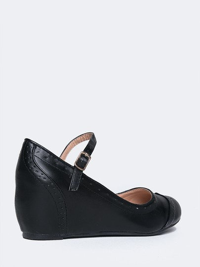 J. Adams Wedge Round Toe Sandals Pumps Black PU Flats
