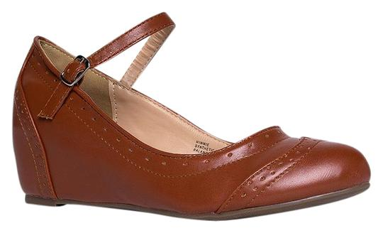 J. Adams Round Toe Flat Sandals Pumps Tan PU Wedges