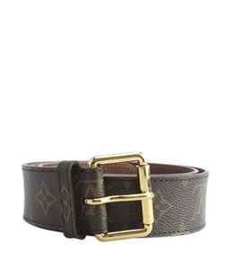 Louis Vuitton Brown Monogram Leather Belt Size 80/32 (127640)