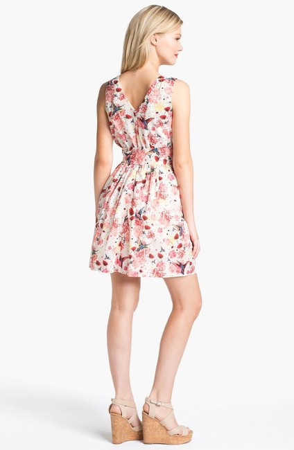 French Connection short dress white & red Bird Floral Belt on Tradesy