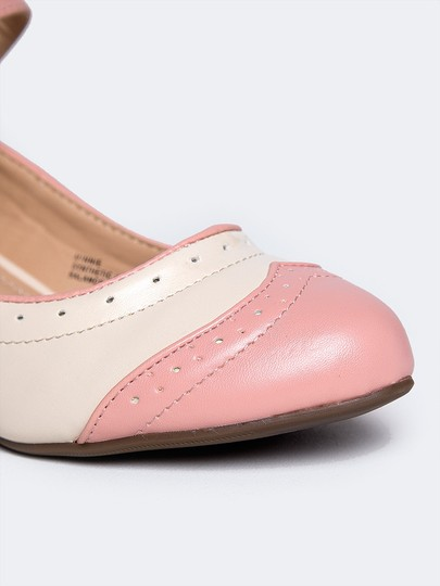 J. Adams Round Toe Sandals Pumps Flat Pink PU Wedges