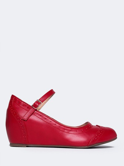J. Adams Round Toe Sandals Pumps Flat Red PU Wedges