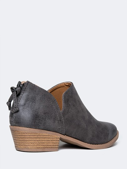 J. Adams Ankle Round Toe Low Heels Sandals Grey Boots