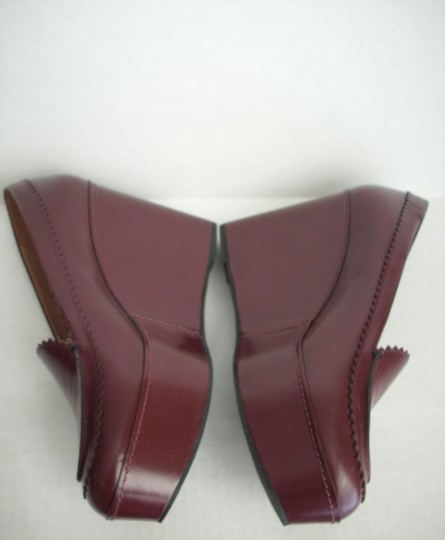 Robert Clergerie Platform Leather Red (Burgundy) Wedges
