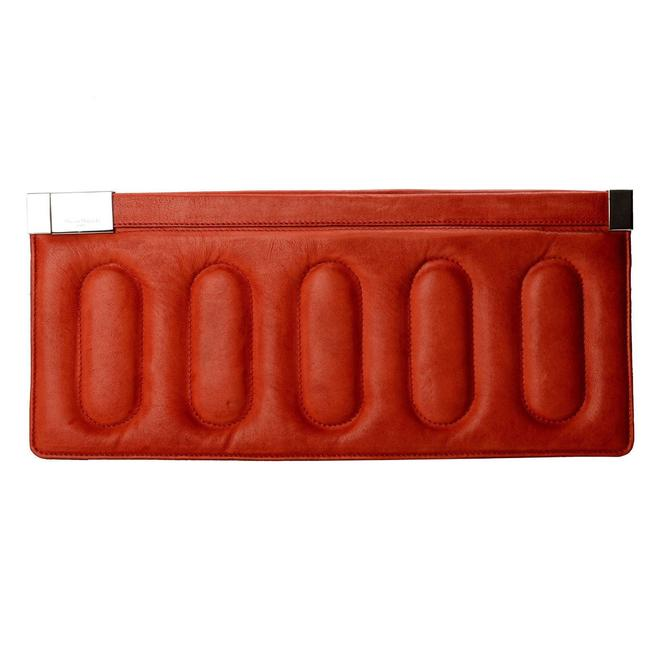 Item - Padded Long Brick Red Leather Clutch