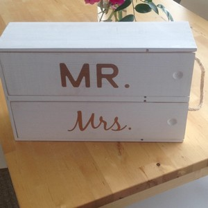 Wood with Gold Letters Mr. and Mrs. Wine Box Decoration