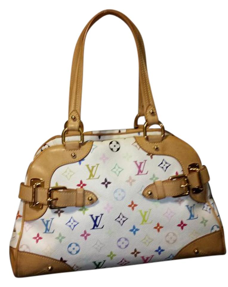 2ee6046a394ce Louis Vuitton Claudia Reduced Price Murakami White Multicolor Coated Canvas  Satchel