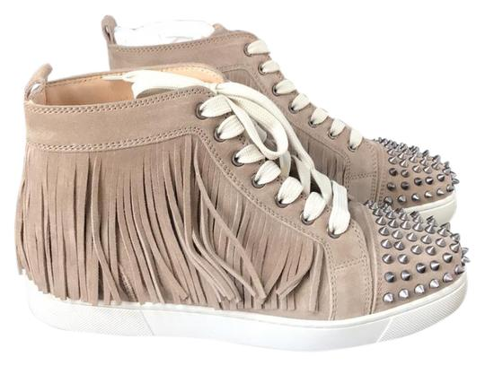 Preload https://item2.tradesy.com/images/christian-louboutin-tan-coachelita-taupe-suede-spike-fringe-sneaker-trainer-sneakers-size-eu-405-app-21562696-0-1.jpg?width=440&height=440