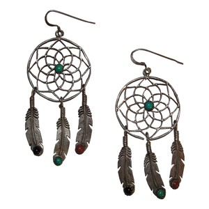 Vintage Runway Sterling Silver Dream Catcher Earrings